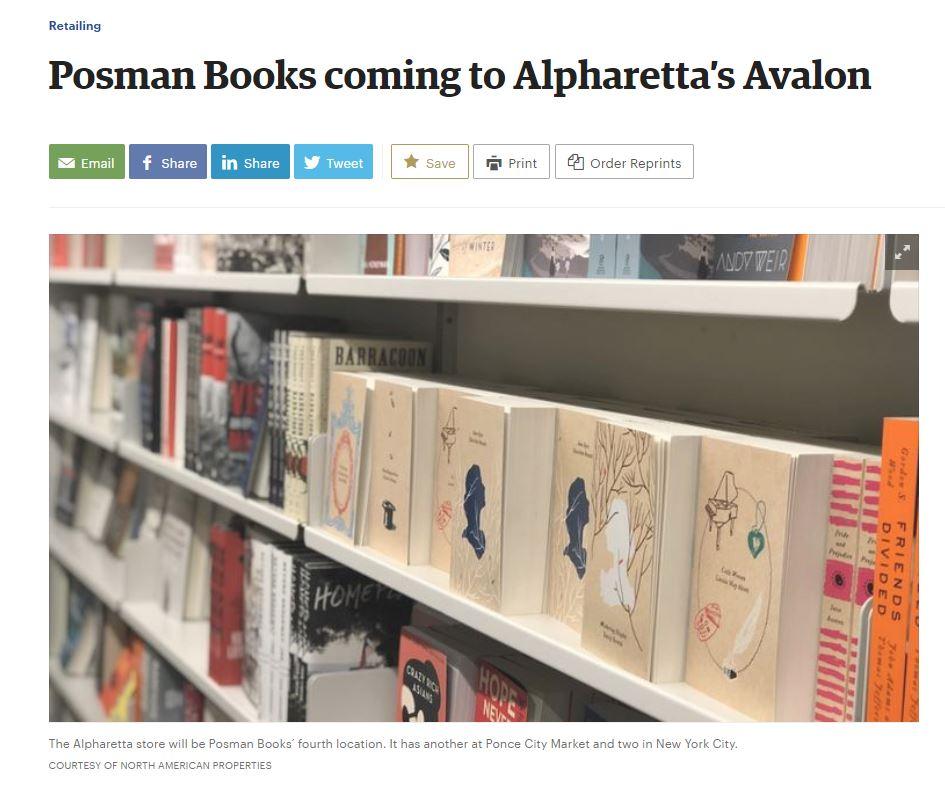 Alpharetta Ga Mail: NYC-Based Posman Books Coming To Avalon
